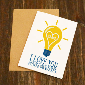 I Love You Watts & Watts Personalised Valentine's Card