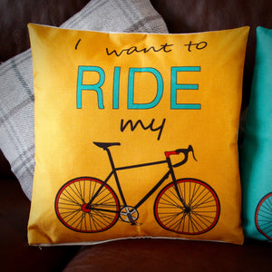 I Want To Ride My Bike Cushion Cover - Mustard