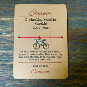 I Wheelie Love You Cycling Wish Bracelet & Personalised Postcard