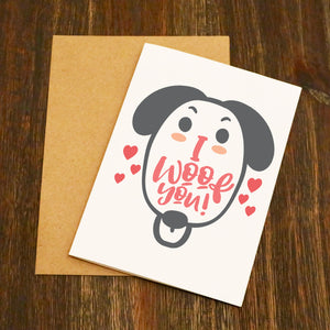 I Woof You Doggy Valentine's Card