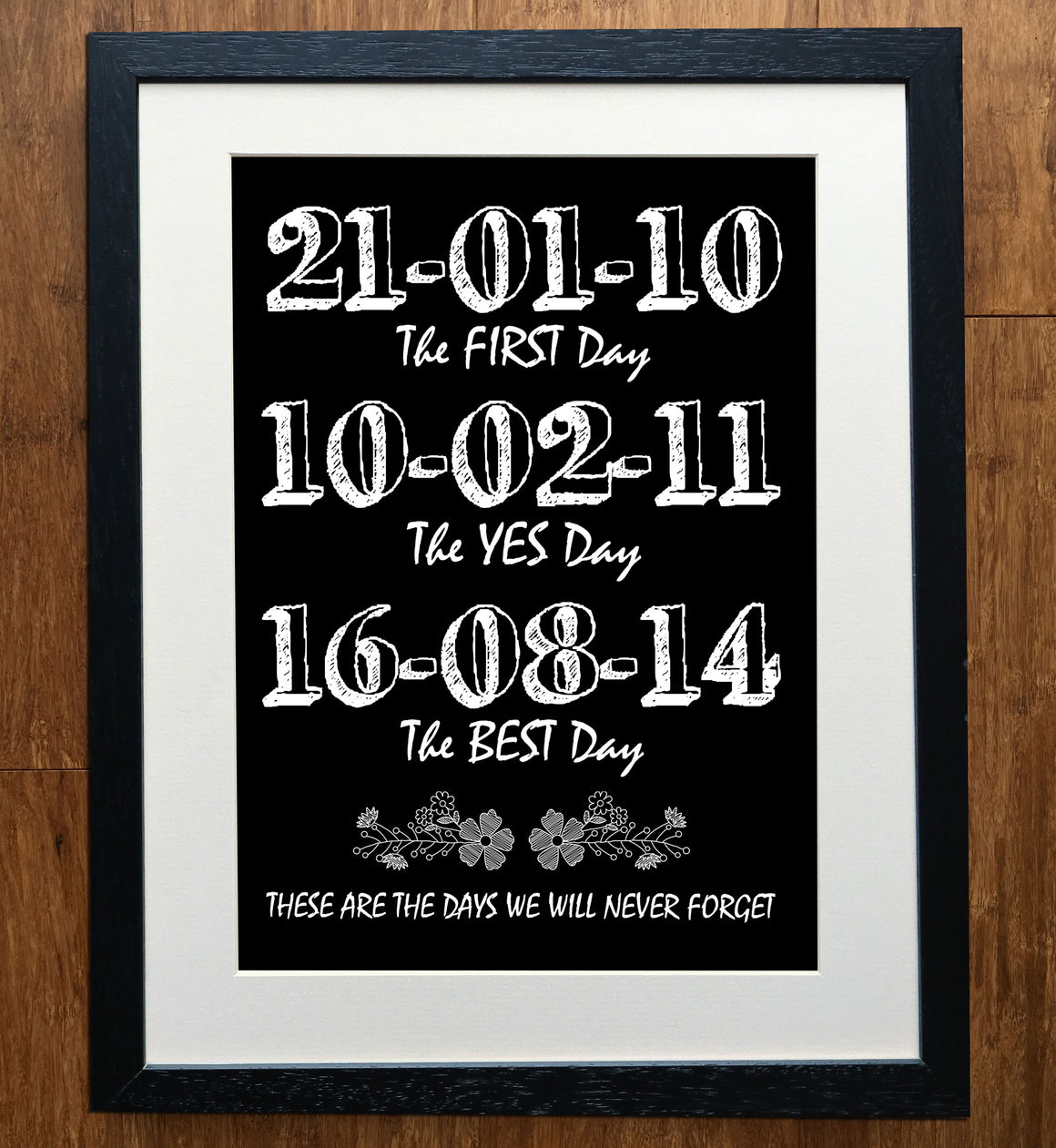 "Blackboard ""Never Forget"" Personalised Wedding Print"
