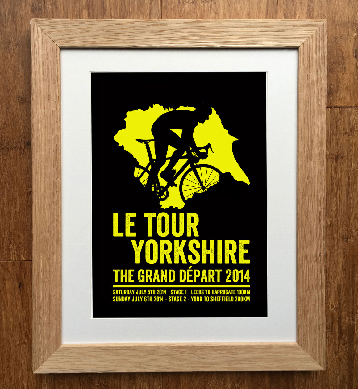 Le Tour Yorkshire Silhouette Cycling Print