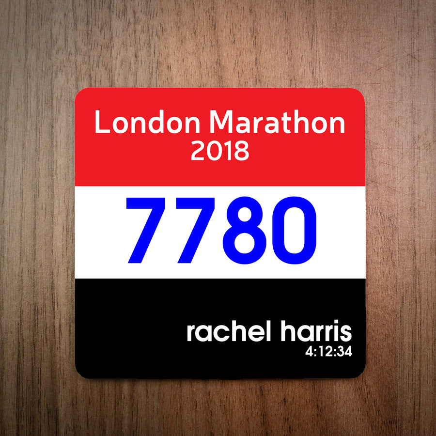 Personalised London Marathon Race Bib Coaster 2018/Custom