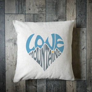 Love Mountains Heart Cushion