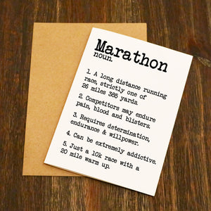 Marathon Dictionary Running Card