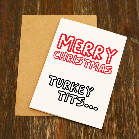 Merry Christmas Turkey Tits Christmas Card