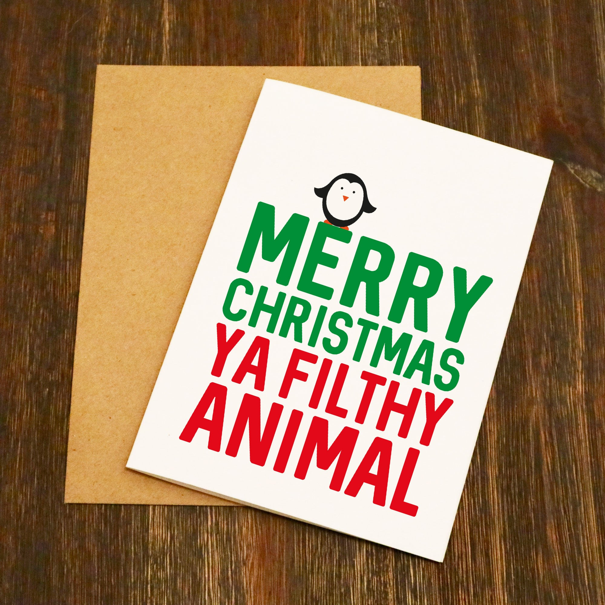 Merry Christmas Ya Flithy Animal Funny Adult Christmas Card ...