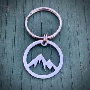Stainless Steel Mountains Key Ring