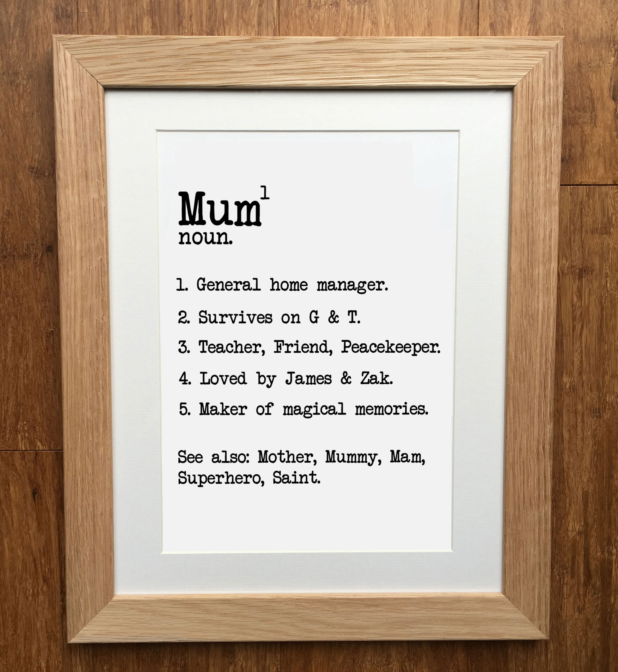 Personalised Print Mum Mother/'s day Mum Family gift Print Quote Describing frame