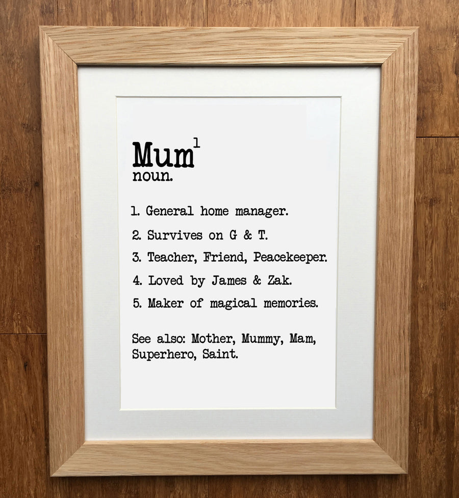 Mum Dictionary Definition Personalised Print