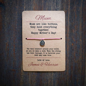 Mums Are Like Buttons Wish Bracelet & Personalised Postcard