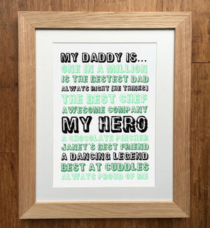 My Dad Is...  Father's Day Personalised Print