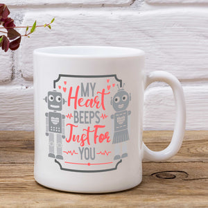My Heart Beeps Just For You Robot Valentine's Mug
