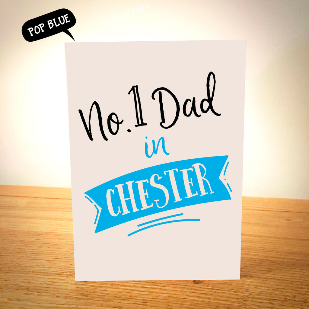 No.1 Dad in.....  Personalised Father's Day Card