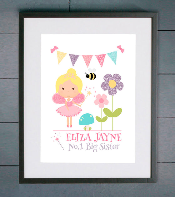No.1 Sister Pink Fairy Personalised Print
