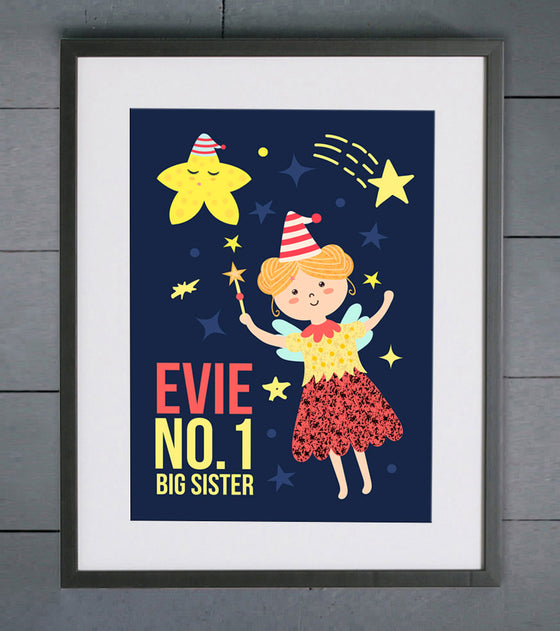 No.1 Big Sister Fairy Personalised Print