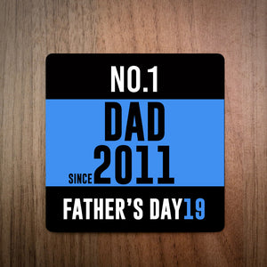 No.1 Mum/Dad Running Race Bib Personalised Coaster