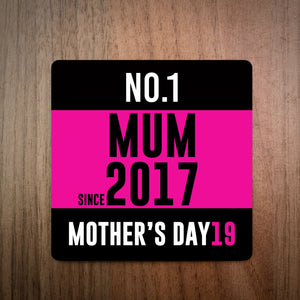 No.1 Mum Running Race Bib Personalised Coaster