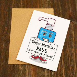 Happy Birthday Hand Wash Personalised Birthday Card