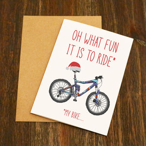 Oh What Fun It Is To Ride My Bike Cycling Christmas Card