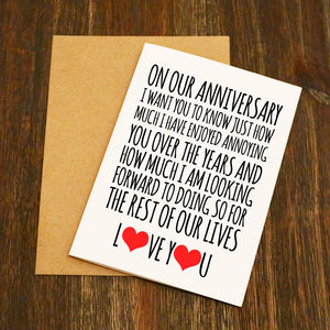 On Our Anniversary Annoying I Love You Card