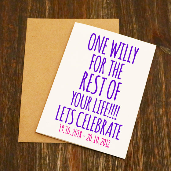 One Willy Let's Celebrate Hen Party Card