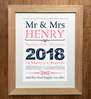 Outline Personalised Wedding Print