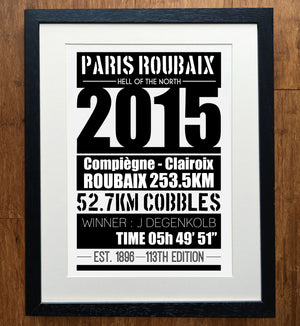 Paris Roubaix Hell Of The North 2015 Cycling Print