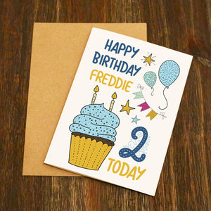 Cake And Balloons Personalised Birthday Card