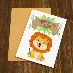Safari Animals Personalised Birthday Card