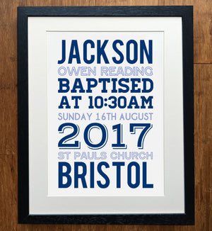 Cross Outline Personalised Christening Print