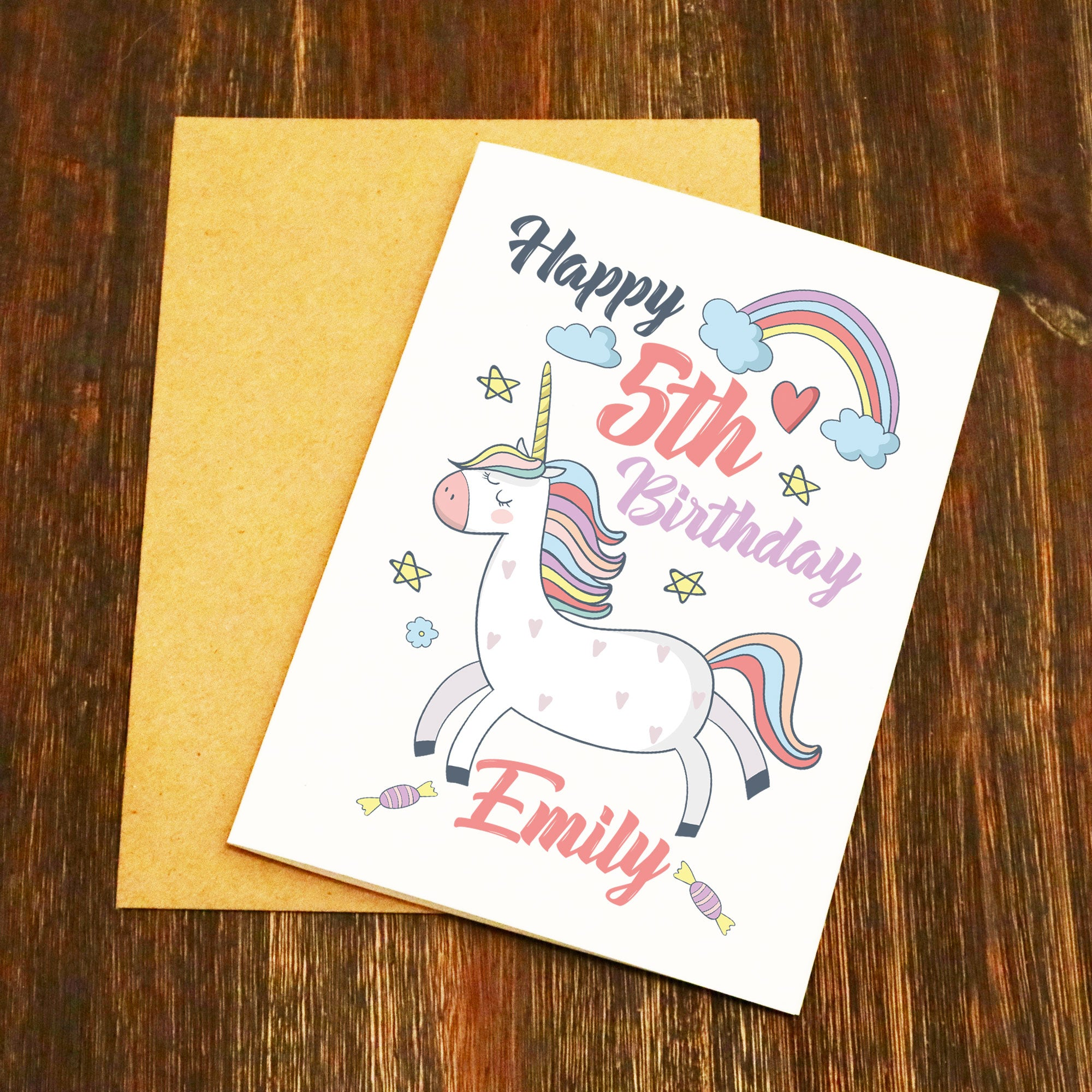 Personalised Name Age Unicorn Rainbow Birthday Card
