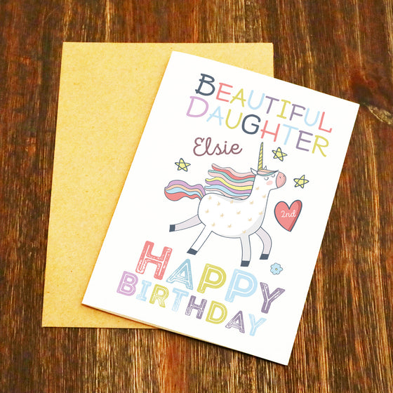 Personalised Beautiful Daughter Unicorn Birthday Card