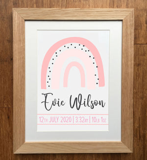 Soft Pink Rainbow Personalised Birth Details Print