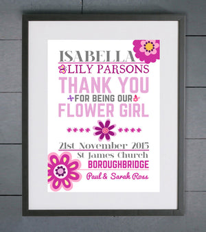 Personalised Butterfly Flower Girl Print