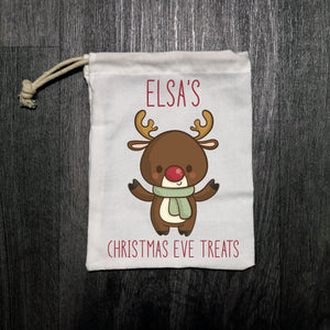 Personalised Christmas Eve Treats Cloth Bag