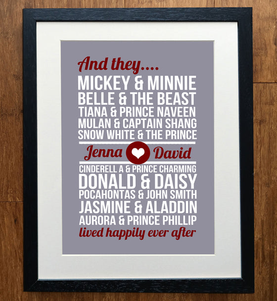 Disney Couples Personalised Print