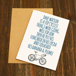 Personalised Banana And Plums Cycling Birthday Card