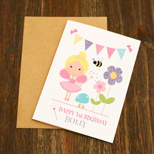 Fairy Bunting Personalised Birthday Card