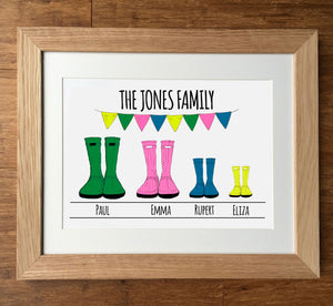 Wellies... Personalised Family Print