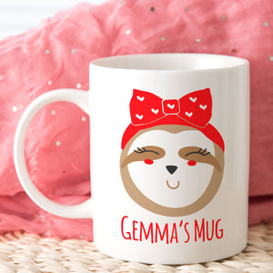 Cute Girlie Sloth Mug