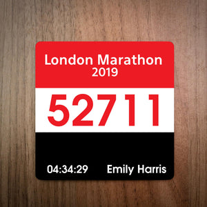 Personalised London Marathon Race Bib Coaster 2019