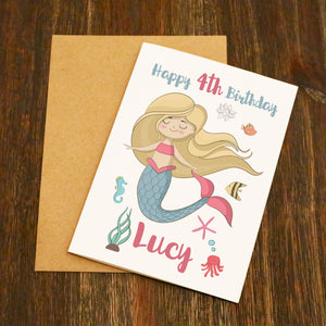 Personalised (Name & Age) Mermaid Birthday Card