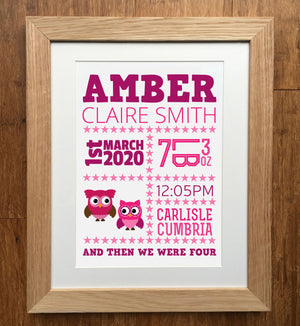 Owls And Stars Personalised Birth Details Print