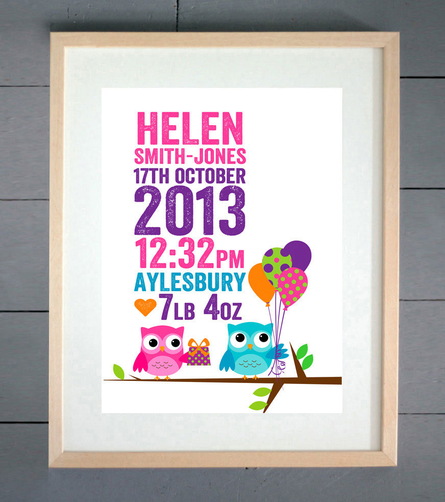 Party Owls Personalised Birth Print