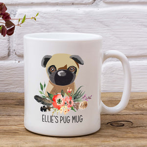 Personalised Pug Dog Mugs