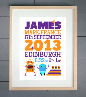 Robots Personalised Birth Details Print