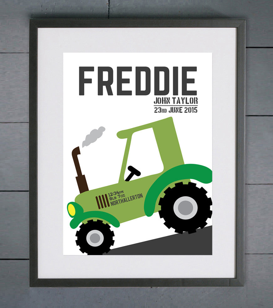 Simple Tractor Personalised Birth Details Print