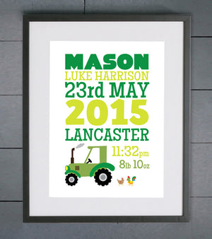 Tractor and Chickens Personalised Birth Details Print
