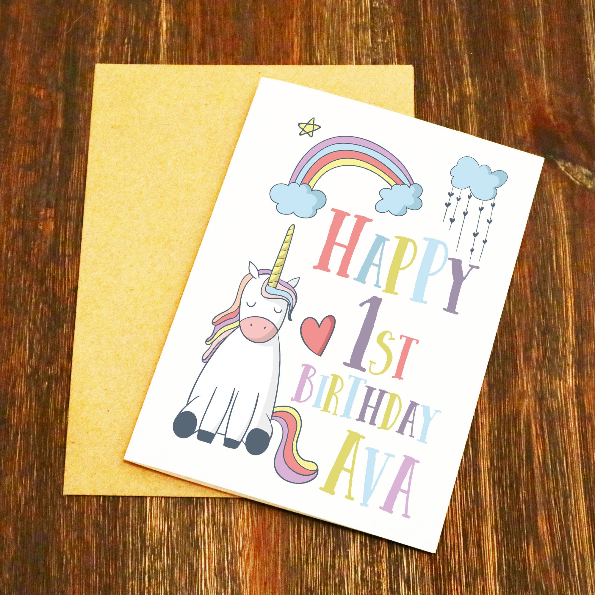 Personalised Name Age Unicorn Birthday Card
